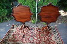 English Chippendale Mahogany Tilt Top Tables Side End Tables, c. 1920