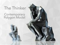 THE THINKER Low Polygon Model Sculpture | Rodin | Geometric | Cubist | Gift Poly