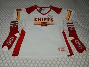 Kansas City Chiefs 25 Women's V-Neck XL Short Sleeve Jersey & 2 Pairs Adult 4...