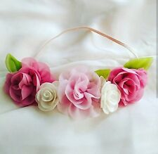 Flower Crown with Leaf, Baby Girl Headband Hair Accessories Handmade