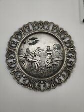 "Vintage Pewter Plate SKS ZINN 95% Made in Germany Decorative Embossed 9.5"""