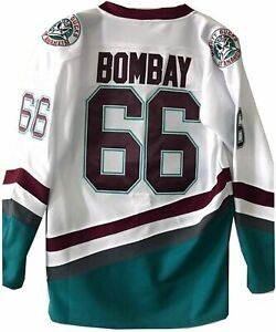 Bombay 66 The Mighty Ducks Hockey Jersey S-XXXL Green White Stitched