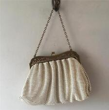 True vintage 1940s usa whiting and davis crème gold mesh porte-monnaie sac a main