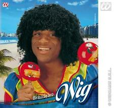 Mens Black Frizzy Hair Wig Tropical Carribean Beach Party Fancy Dress