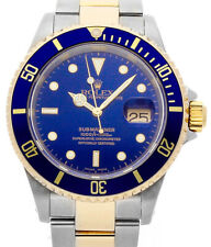 Rolex Submariner 18k Gold & Steel Mens 40mm Automatic Dive Watch A 16613
