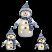 Blue/White Light Up Snowman Christmas Decoration With Hat And Scarf 33/20/15cm