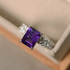 2CT Emerald-Cut Amethyst Solitaire Bridal Engagement Ring Set 14k White Gold Fin