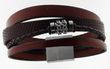 Men's Bracelet Leather STORCH SCHMUCK Braun Stainless Magnetic Closure Germany