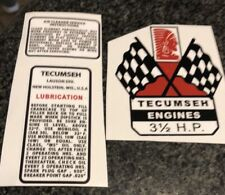 Tecumseh 3 1/2 Horsepower Decal Set Mini Bike