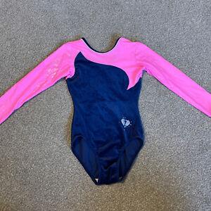 Deluxe Girls Long Sleeve Gymnastics Leotards UK Navy & Pink