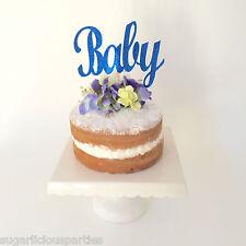 'Baby' Dark Royal Blue Glitter Cake Topper, Baby Shower Party Cake Decoration