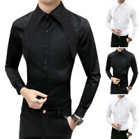 INCERUN Men Gothic Steampunk Shirt Plus Satin Modern Formal Work Long Sleeve Top