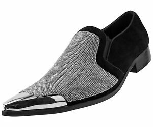 New Men Metal Toe Dress Shoes Rhinestone Diamond Loafers Slip On ClassicCrisiano