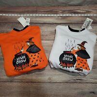 NEW 2 Pack Womens Medium Halloween Sweatshirt Witch Fall Pumpkin Shirt Orange