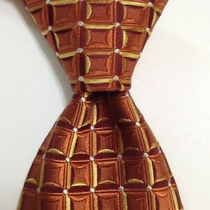 HUGO BOSS Men's Silk Necktie ITALY Designer Geometric Orange/Brown/Yellow EUC