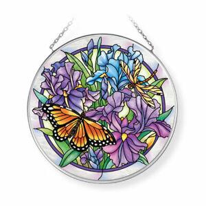 "AMIA Suncatcher IRIS MEADOWS w/ Monarch Butterfly Hand Painted Glass 4.5"" Round"
