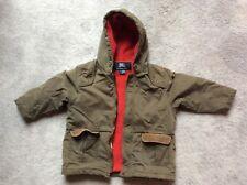 Burberry boys zip front jacket coat fleece lined with hood size 3