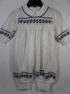Boutique Tejidos Cristina White Knit Nautical Romper w/ SAILBOATS, Sz 0-6 Months