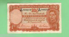 AUSTRALIAN TEN SHILLING 1939  R12 TYPE  SHEEHAN / McFARLANE BANKNOTE  E83 185210