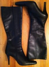 Charles David Vera Gomma Black Leather Dress Women's Boots size 37 Made in Italy