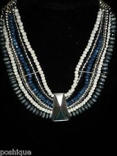 Necklace Lucite Beaded Choker Layered White Blue Silver Nautical Beach Chic
