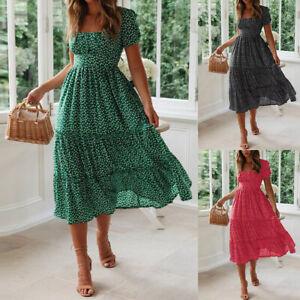 Women's Polka Dot Boho Long Dress Ladies Summer Beach Holiday Ruffle Maxi Dress