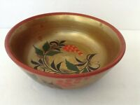 Russian Folk Art Bowl Hand Painted Black and Gold Lacquer Flower & Leaf Design