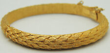 "Vintage 6.5"" TRIFARI Bangle Scales Bracelet Safety Chain Hidden Clasp Gold Tone"