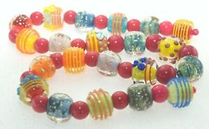 OliveStuart Handmade Lampwork Beads 21 bright round w/sterling silver thread
