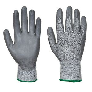 Portwest A622 Cut 5 PU Palm Cut Protection Safety Gloves - Grey