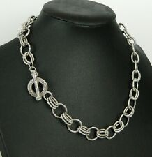 Judith Ripka 925 Sterling Silver Black Onyx Ribbed Double Link Toggle Necklace