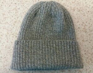 Made in Scotland Beautiful 5 ply  Lambs Wool Unisex  Beanie Hat, Blue/Grey/White