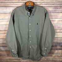 Ralph Lauren Men's Marlowe 100% Cotton Button Front Shirt Plaid Size Large