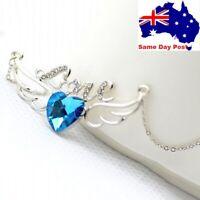 Love Heart Pendant Necklace Flash Rhinestone Crystal Angel Wings jewellery