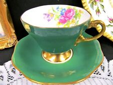 FOLEY tea cup and saucer green & floral rose pattern teacup flared
