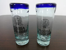 Tequila Shot Glasses x2 Vintage Tequila Herradura thick glass clear blue Slammer