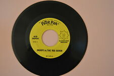 """""""SNOOPY vs. THE RED BARON"""" 45 RPM  PETER PAN Record  music TALE OF DICKIE DRAGON"""