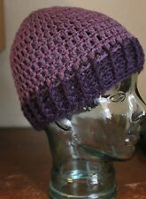 Crochet Messy Bun Hat Purple Ponytail Beanie Handmade