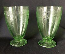 Set of 2 Hazel Atlas Florentine Poppy Tall Footed Tumbler Juice Depression Glass