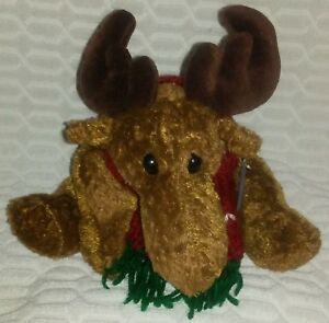 "11""2000 Princess Soft Toys Brown Moose Floppy Beanbag Plush With Tags"