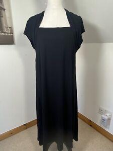 Marks & Spencer Black Stretchy Dress Size 18 Wrap Shoulder Detail Square Neck