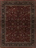 Floral Oriental Agra Area Rug Wool Hand-Knotted Dining Room Carpet 9x12 BURGUNDY