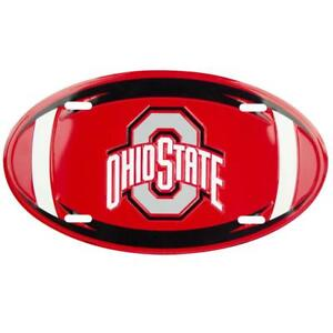 OHIO STATE BUCKEYES CAR TRUCK TAG OVAL FOOTBALL LICENSE PLATE METAL SIGN