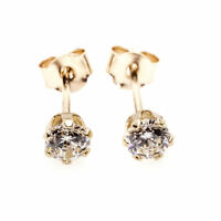 9ct gold stud earrings 4 mm clear round CZ's (post and backs 9ct gold also)