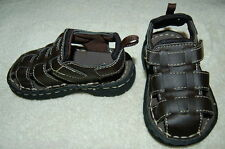 Toddler Baby Boys Shoes BROWN STRAPPY WOVEN SANDALS Mock Leather CLOSED TOE Sz 5