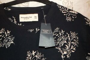BNWT MENS ABERCROMBIE XXL DARK BLUE PATTERNED TEE with CURVED HEM 100% COTTON