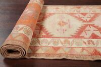 NEW Geometric 11 ft Turkish Oushak Runner Rug Hand-Knotted RED ORANGE Wool 3x11