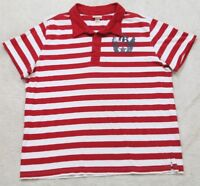 Mossimo Supply Co. Polo Shirt Short Sleeve XXL Red White 2XL Striped Men's Man's