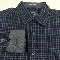 Bugatchi Uomo Mens XL Shaped Fit Shirt Blue Plaid Flip Cuff Button Long Sleeve