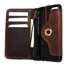 genuine retro real leather Case for iphone 7 book wallet cover cards slots brown